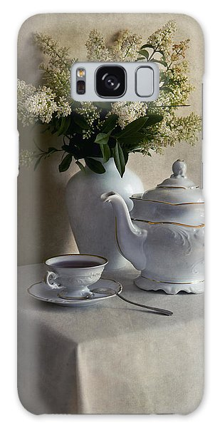 Still Life With White Tea Set And Bouquet Of White Flowers Galaxy Case
