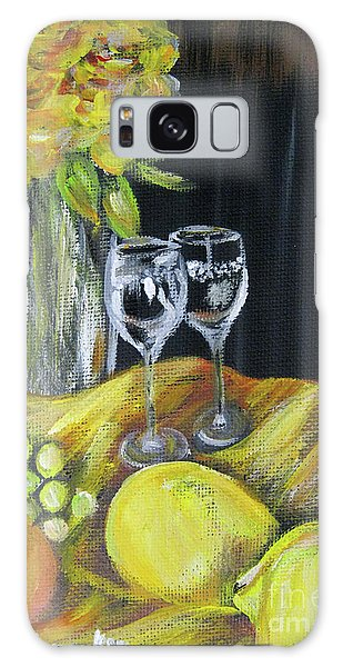 Still Life With Wine Glasses, Roses And Fruit. Painting Galaxy Case