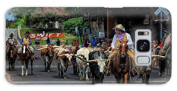Stockyards Cattle Drive Galaxy Case by David and Carol Kelly