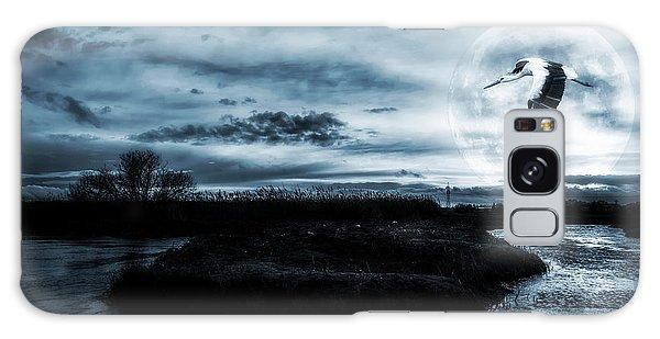 Stork In Moonlight Galaxy Case by Jaroslaw Grudzinski