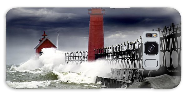 Storm At The Grand Haven Lighthouse Galaxy Case