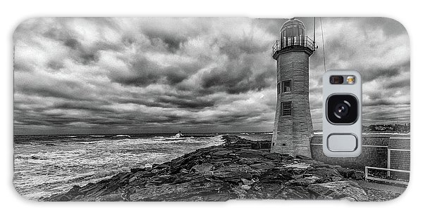 Storm Clouds Over Old Scituate Lighthouse In Black And White Galaxy Case