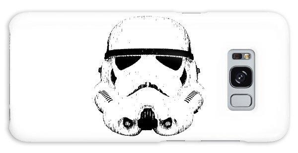 Galaxy Case featuring the digital art Stormtrooper Helmet Star Wars Tee Black Ink by Edward Fielding