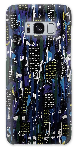 Galaxy Case featuring the painting Stormy Night In The City by Teresa Wing