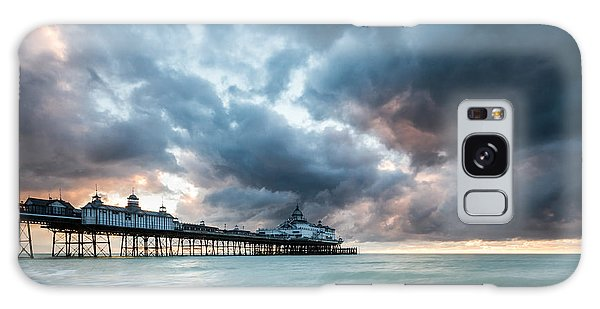 Stormy Sunrise Over Eastbourne Pier Galaxy Case