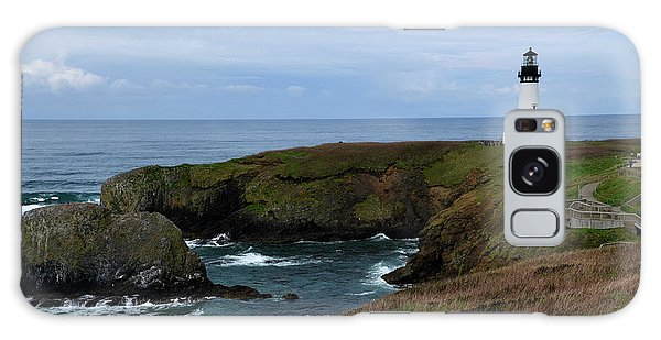 Stormy Yaquina Head Lighthouse Galaxy Case