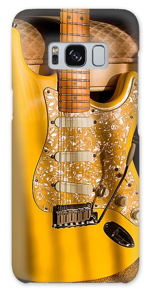 Galaxy Case featuring the digital art Stratocaster Plus In Graffiti Yellow by Guitar Wacky