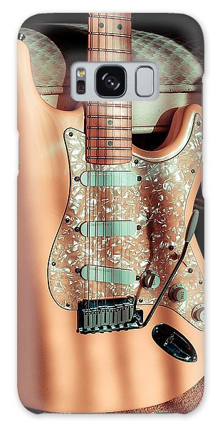 Galaxy Case featuring the digital art Stratocaster Plus In Shell Pink by Guitar Wacky