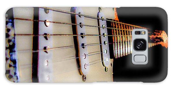 Galaxy Case featuring the digital art Stratocaster Pop Art Tangerine Sparkle Fire Neck Series by Guitar Wacky