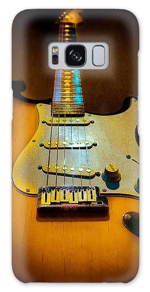 Galaxy Case featuring the digital art Stratocaster Tobacco Burst Glow Neck Series  by Guitar Wacky