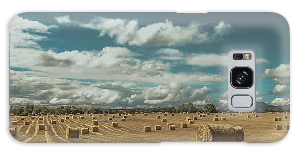 Straw Bales In A Field 3 Galaxy Case