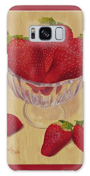 Galaxy Case featuring the painting Strawberries In Crystal Dish by Nancy Nale