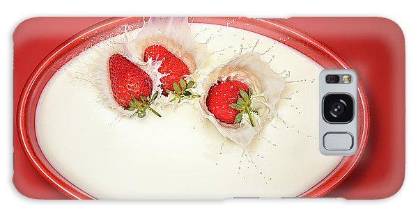 Strawberries Splashing In Milk Galaxy Case