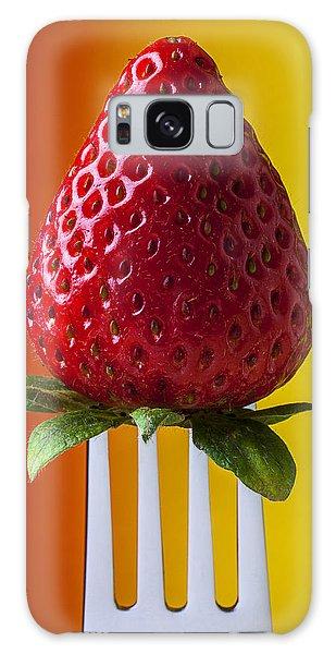 Strawberry On Fork Galaxy Case by Garry Gay