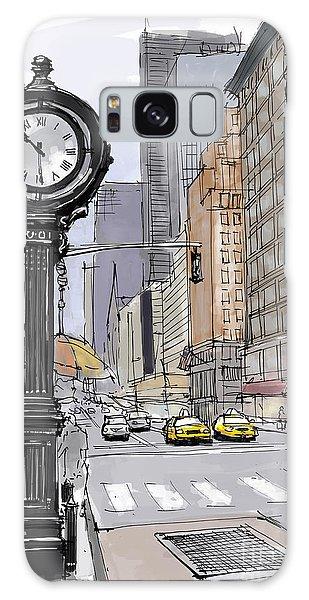 Clock Galaxy Case - Street Clock On 5th Avenue Handmade Sketch by Drawspots Illustrations