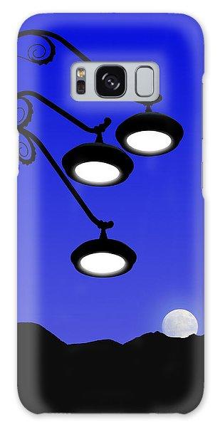 Street Light And Moonrise Galaxy Case