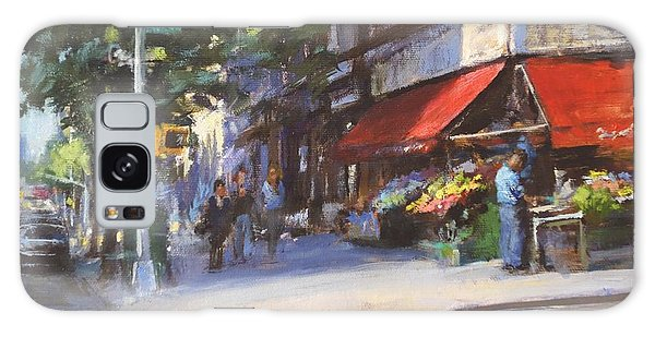 Streetscape With Red Awning - 82nd Street Market Galaxy Case