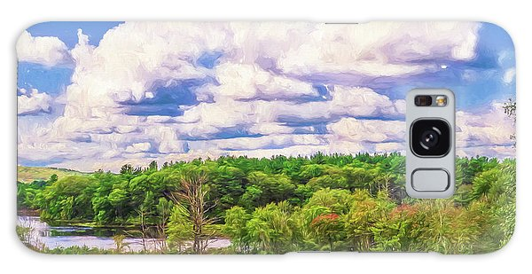 Striking Clouds Above Small Water Inlet And Green Trees Galaxy Case