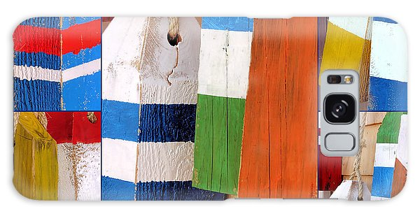 Stripes And Solid Buoys  Galaxy Case by Janice Drew