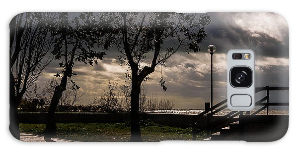 Strolling The Waterfront On A Stormy Day Galaxy Case
