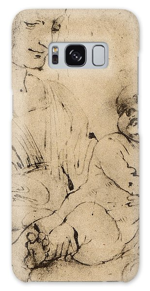 Pen And Ink Drawing Galaxy Case - Study Of A Madonna And Child by Leonardo Da Vinci