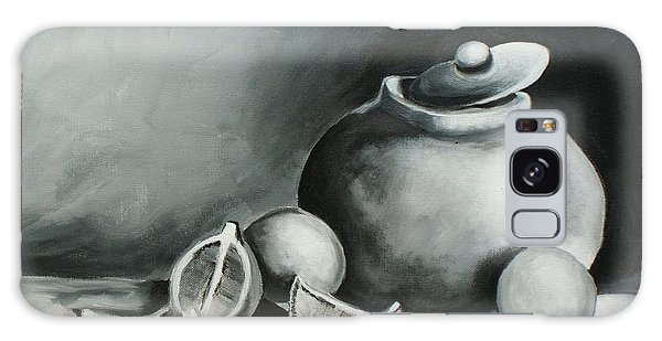 Study Of Lemons, Oranges And Covered Jug In Black And White Galaxy Case