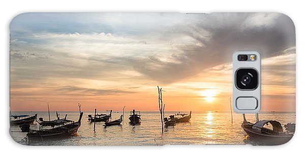 Stunning Sunset Over Wooden Boats In Koh Lanta In Thailand Galaxy Case