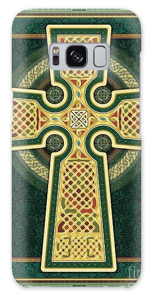 Stylized Celtic Cross In Green Galaxy Case