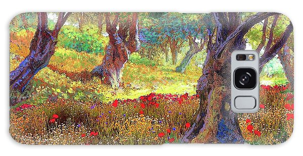 Tranquil Grove Of Poppies And Olive Trees Galaxy Case