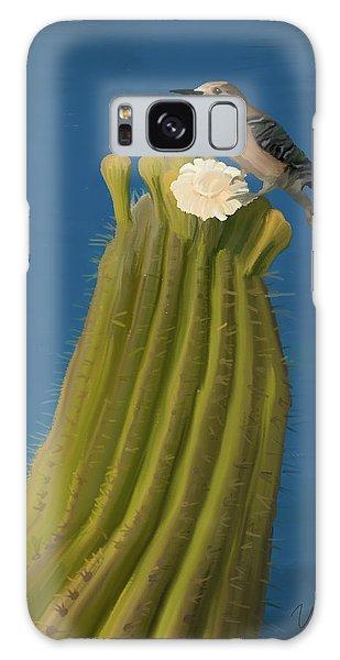 Sugaro Cactus And Cactus Wren Galaxy Case by Wally Hampton
