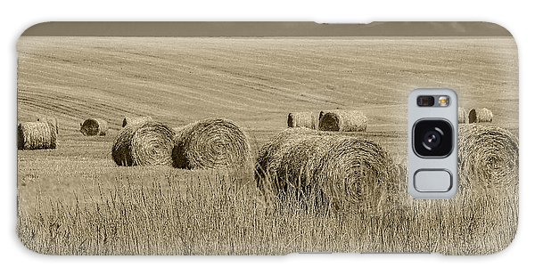 Summer Harvest Field With Hay Bales In Sepia Galaxy Case