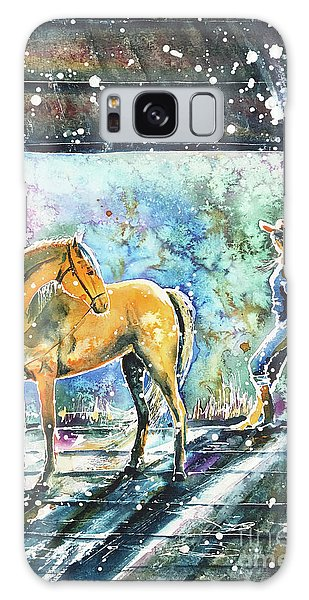 Galaxy Case featuring the painting Summer Morning At The Barn by Zaira Dzhaubaeva