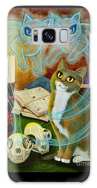 Galaxy Case featuring the painting Summoning Old Friends - Ghost Cats Magic by Carrie Hawks