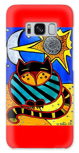 Sun And Moon - Honourable Cat - Art By Dora Hathazi Mendes Galaxy Case by Dora Hathazi Mendes