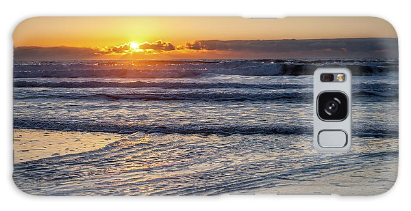 Sun Behind Clouds With Beach And Waves In The Foreground Galaxy Case