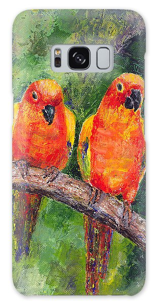 Sun Parakeets Galaxy Case by Arline Wagner