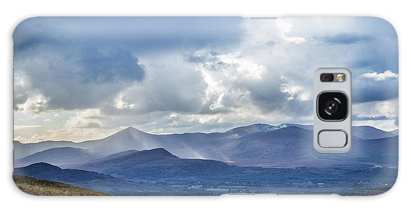 Sun Rays Piercing Through The Clouds Touching The Irish Landscap Galaxy Case by Semmick Photo