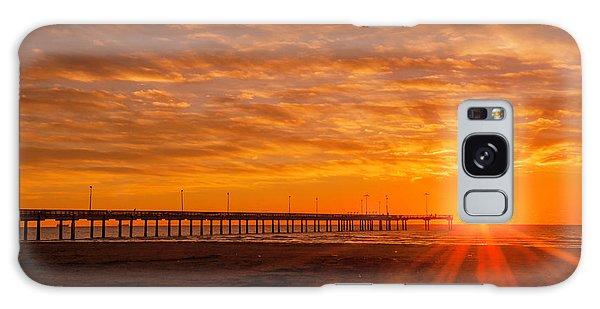 Sun Rising At Port Aransas Pier Galaxy Case