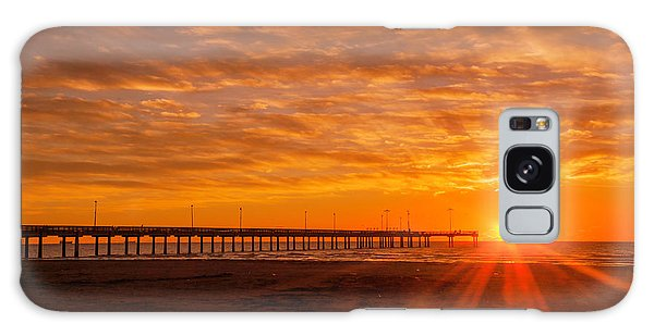 Sun Rising At Port Aransas Pier Galaxy Case