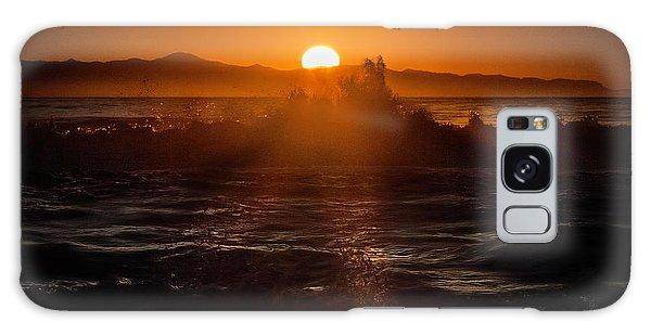 Sun Setting Behind Santa Cruz Island Galaxy Case by John A Rodriguez