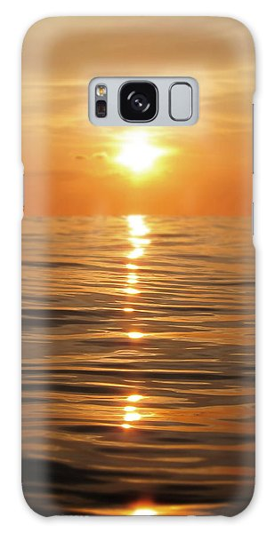Sun Setting Over Calm Waters Galaxy Case