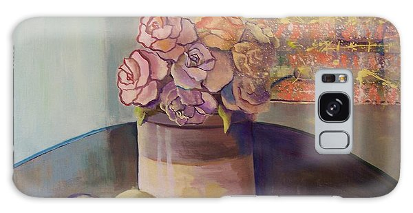 Sunday Morning Roses Through The Looking Glass Galaxy Case by Marlene Book