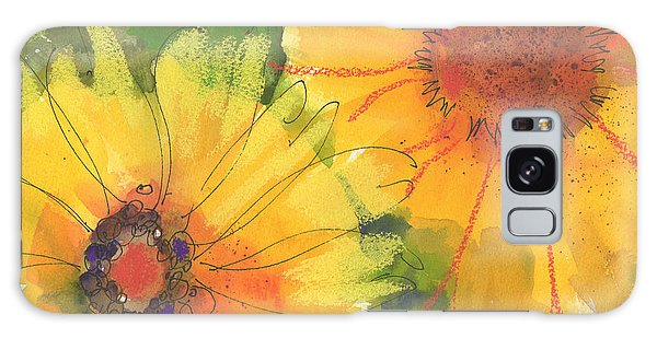 Big Sunflowers Watercolor And Pastel Painting Sf018 By Kmcelwaine Galaxy Case
