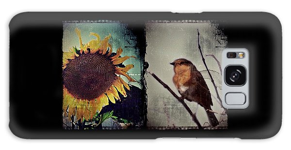 Sunflower Bird Diptych Galaxy Case