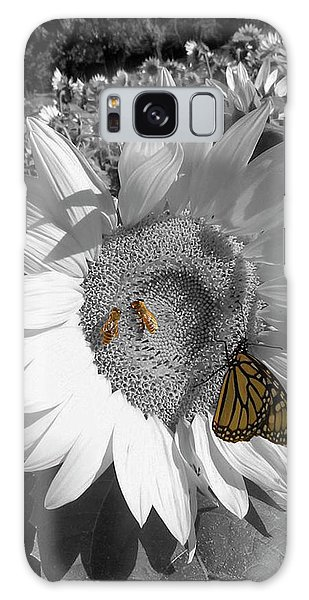 Sunflower In Black And White Galaxy Case