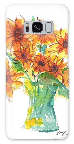 Sunflower Medley II Watercolor Painting By Kmcelwaine Galaxy Case