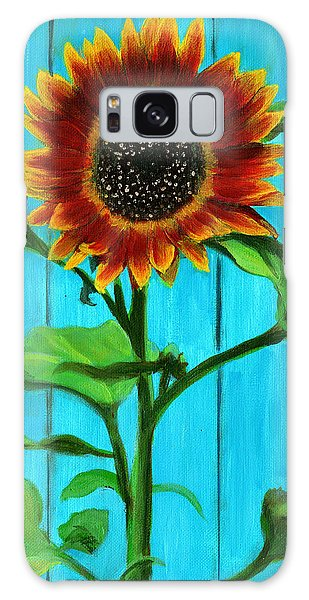 Sunflower On Blue Galaxy Case