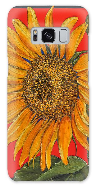 Da153 Sunflower On Red By Daniel Adams Galaxy Case