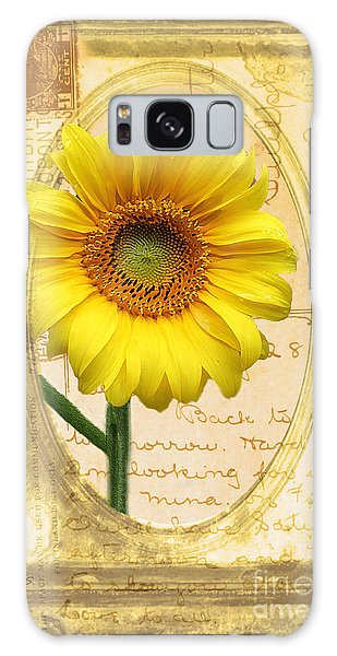 Sunflower On Vintage Postcard Galaxy Case by Nina Silver