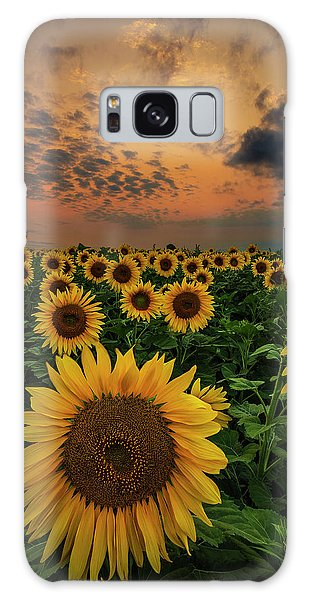 Galaxy Case featuring the photograph Sunflower Sunset  by Aaron J Groen